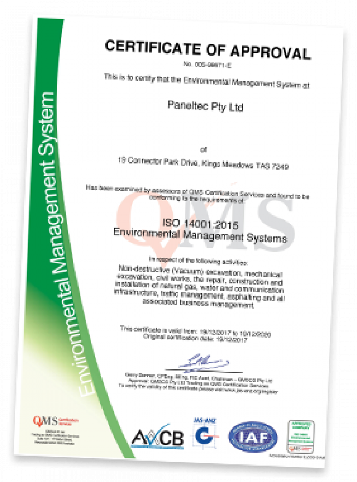 Paneltec ISO 14001 Environmental Certification