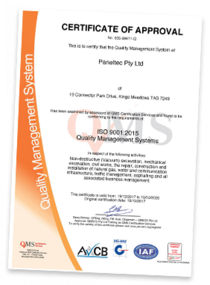 Paneltec ISO 9001 Quality Certification